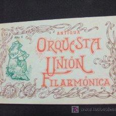 Música de colección: ANTIGUA ORQUESTA UNION FILARMONICA - RELACION DE PROFESORES QUE COMPONEN LA ORQUESTA - AÑO 1.910 -. Lote 17465194