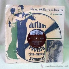 Música de colección: DISCO, DURIUM, Nº 19, EXTRAORDINARIO, REVISTA CINE MUSICAL SEMANAL, 5001 - 5147, 1934, PARTITURA. Lote 22910803