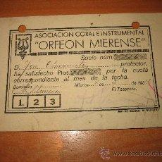 Musique de collection: ASOCIACION CORAL E INSTRUMENTAL ORFEON MIERENSE CARNET DE SOCIO Nº 1934. Lote 24050994