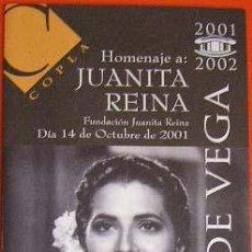 Música de colección: DIPTICO CONCIERTO HOMENAJE A JUANITA REINA. TEATRO LOPE DE VEGA DE SEVILLA 2001. Lote 25839631