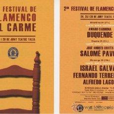 Música de colección: FOLLETO TAMAÑO POSTAL PUBLICITARIO: 2º FESTIVAL DE FLAMENCO AL CARME, VALENCIA. Lote 29271247