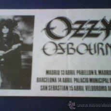 Música de colección: OZZY OSBOURNE FLYER DE LA PRIMERA GIRA DE OZZY EN ESPAÑA. Lote 30073244