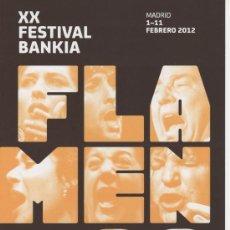 Música de colección: PROGRAMA DE MANO, DÍPTICO, XX FESTIVAL BANKIA FLAMENCO 2012. Lote 30576854