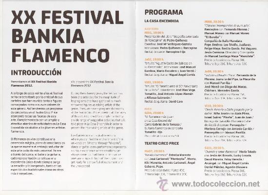 Música de colección: PROGRAMA DE MANO, DÍPTICO, XX FESTIVAL BANKIA FLAMENCO 2012 - Foto 2 - 30576854