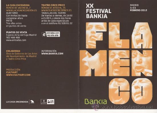 Música de colección: PROGRAMA DE MANO, DÍPTICO, XX FESTIVAL BANKIA FLAMENCO 2012 - Foto 3 - 30576854
