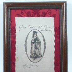 Música de colección: MARÍA BARRIENTOS.TEATRO DEL LICEO, BARCELONA. PRIMAVERA 1913, SEDA ENMARCADA, MARCO: 26X36 CM.. Lote 30581816