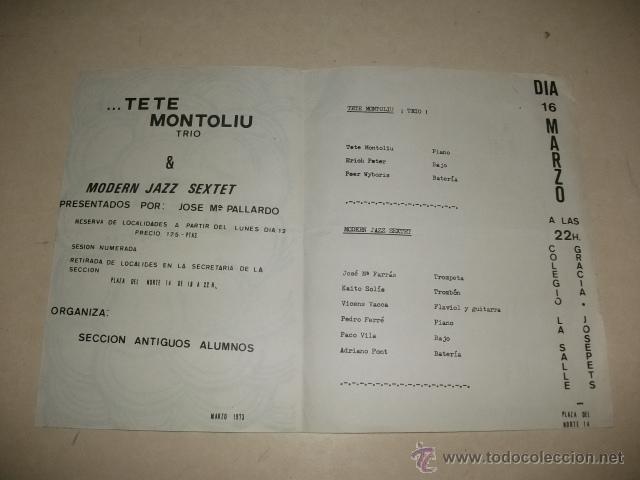 Música de colección: JAZZ CON… TETE MONTOLIU TRIO & MODERN JAZZ SEXTET – BARCELONA MARZO 1973 - Foto 2 - 39837963