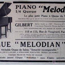 """Música de colección: PUBLICIDAD ORIGINAL DE PRENSA PRINCIPIOS SIGLO XX """"PIANO MELODIAN"""" Y """"ORGUE MELODIAN"""" PIANO Y ORGANO. Lote 41017320"""