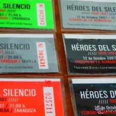 Música de colección: HÉROES DEL SILENCIO * 6 MATRICES DE 6 ENTRADAS * NUMERADAS * ULTRARARE * PLASTIFICADAS!!!. Lote 152059344