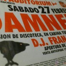 Música de colección: CARTEL POSTER CONCIERTO THE DAMNED VALENCIA ARENA UDITORIUM + DJ FRAN . Lote 43867440
