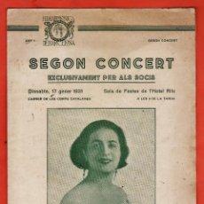 Música de colección: PROGRAMA - SEGON CONCERT - FILHARMONICA DE BARCELONA - JULIETA TELLES - SALA HOTEL RITZ - AÑO 1931 . Lote 44433761