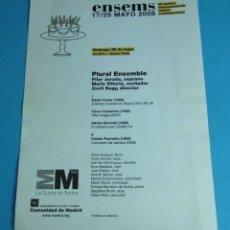 Música de colección: PROGRAMA DE MANO FESTIVAL INTERNACIONAL DE MÚSICA CONTEMPORÁNEA. ENSEMS 2008. Lote 44908052