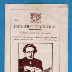 Música de colección: PROGRAMA - CONCERT - FILHARMONICA DE BARCELONA - SALA FESTES HOTEL RITZ / BCN - AÑO 1930. Lote 45318679