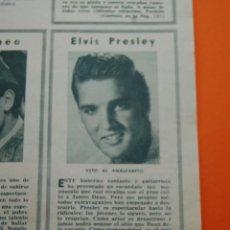 Música de colección: ARTICULO REVISTA 1957 - ELVIS PRESLEY VETO AL ANALFABETO AUGURIO REY POR UN DIA...SE EQUIVOCARON. Lote 45710065