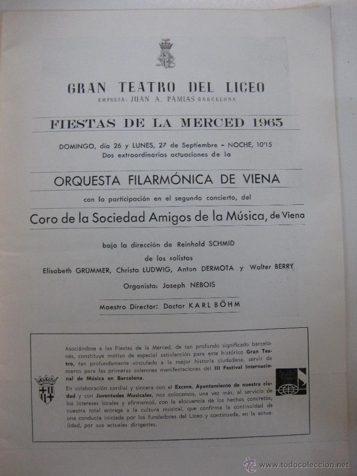 Música de colección: GRAN TEATRO DEL LICEO. ORQUESTA FILARMONICA DE VIENA. FIESTAS DE LA MERCED 1965. - Foto 2 - 47438068