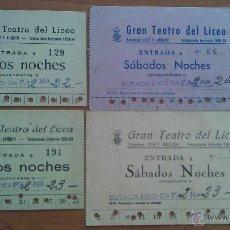 Música de colección: 1949 - 1954 CUATRO ENTRADAS LICEO BARCELONA. Lote 48735004