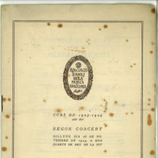 Música de colección: ASSOCIACIO D'AMICS DE LA MUSICA BARCELONA CURS 1923 -1924 PALAU DE LA MUSICA CATALANA. Lote 49731552