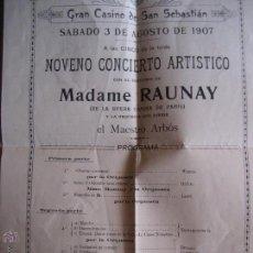 Música de colección: GRAN CASINO DE SAN SEBASTIAN. 1907. PROGRAMA NOVENO CONCIERTO. Lote 50967446