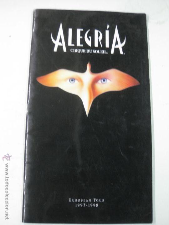 CIRQUE DU SOLEIL. ALEGRIA. EUROPEAN TOUR. 1997 - 1998. (Música - Varios)