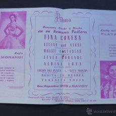 Música de colección: FOLLETO PUBLICIDAD / SALAS DE FIESTAS PILMA / VALENCIA 1950 APX. / FINA CONESA - LEYLA MORANDI. Lote 53005875