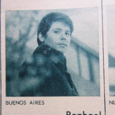 Música de colección: RECORTE 1968 - RAPHAEL SIN VOZ EN BUENOS AIRES. Lote 53280926