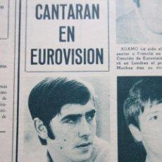 Música de colección: RECORTE 1968 - JOAN MANUEL SERRAT CANTARA LA, LA,LA, EUROVISION / RAPHAEL 1ª FOTO DIGAN LO QUE DIGAN. Lote 53281225