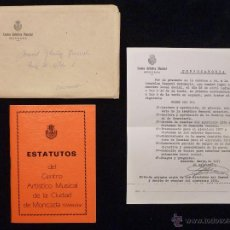 Música de colección: ESTATUTOS DEL CENTRO ARTÍSTICO MUSICAL DE MONCADA (VALENCIA) 1977. Lote 54696659