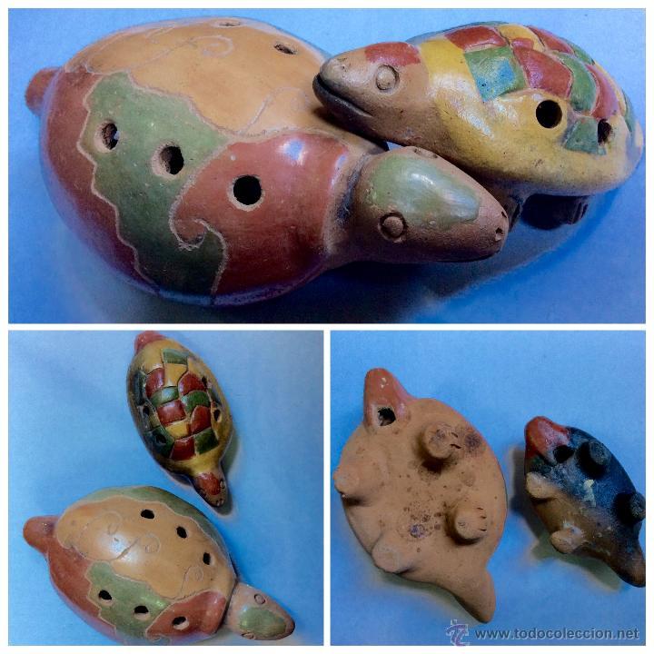 Música de colección: Dos FLAUTAS de cerámica de origen Hispanoamérica muy antiguas - Foto 2 - 53015764