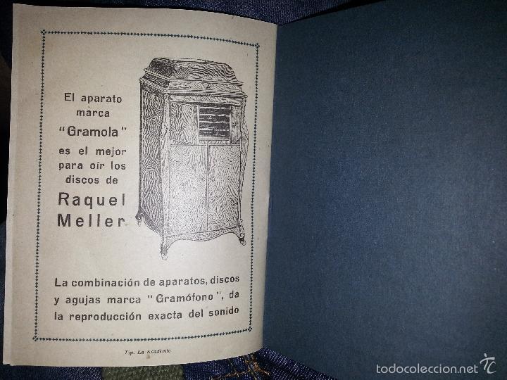 Música de colección: RAQUEL MELLER COLECCION DE COUPLETS MARCA GRAMOFONO 1916 LA VOZ DE SU AMO - Foto 6 - 57076722