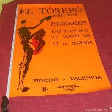 Música de colección: SPOOK FACTORY EL TORERO CARTEL POSTER ORIGINAL INAGURACION 1992 VALENCIA 70X50CMS COMO NUEVO. Lote 63102494