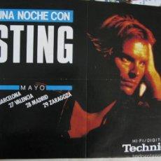 Música de colección: GRAN POSTER UNA NOCHE CON STING. MAYO BARCELONA MADRID VALENCIA ZARAGOZA. 56 X 41 CM.. Lote 57967656