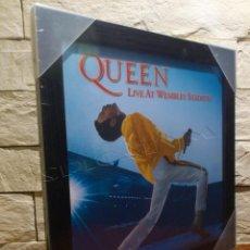Música de colección: QUEEN - LIVE AT WEMBLEY STADIUM - MARCO DE ALBUM VINILO - MADERA Y CRISTAL - PRECINTADO - NUEVO. Lote 62480096
