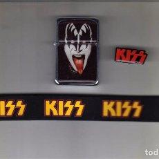 Música de colección: KISS: LOTE COLECCIONISTAS: MECHERO-PIN DE METAL Y PULSERA EN GOMA-SIN USO!! OFERTA!!!. Lote 167800092