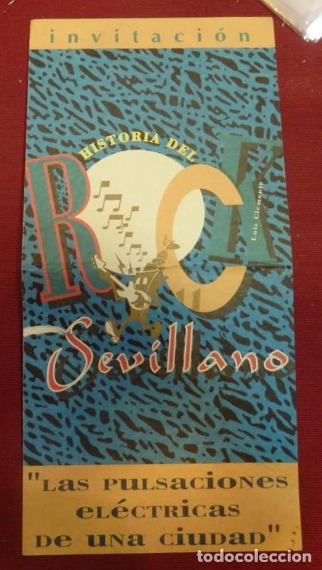 SEVILLA, INVITACION PRESENTACION LIBRO HISTORIA DEL ROCK SEVILLANO, RARA (Música - Varios)