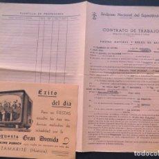 Música de colección: ESPLUGA DE FRANCOLI ( TARRAGONA ) CONTRATO DE LA ORQUESTA GRAN AVENIDA ( TAMARITE ) AÑO 1966 / CASAL. Lote 84531052