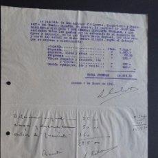 Música de colección: GASTOS ACTUACION COMPAÑIA DE OPERA Y ZARZUELA ( MARIA ESPINAL ) HUESCA AÑO 1941. Lote 85244176