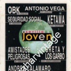 Música de colección: SEVILLA, BACKSTAGE CONCIERTO SEGURIDAD SOCIAL, OBK,KETAMA,ANTONIO VEGA,CALAMARO, ETC..... Lote 86195636
