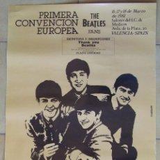 Música de colección: CARTEL POSTER PRIMERA CONVENCION EUROPEA THE BEATLES FANS THANK YOU BEATLES 1981 VALENCIA. Lote 86807260