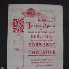 Música de colección: TEATRO APOLO - PROGRAMA AÑO 1907 - CONSUELO TABERNER -VER FOTOS(V- 11.612). Lote 89679620
