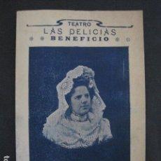 Música de colección: TEATRO LAS DELICIAS - PROGRAMA AÑO 1905 - REMEDIOS RODRIGUEZ -VER FOTOS(V- 11.614). Lote 89680036