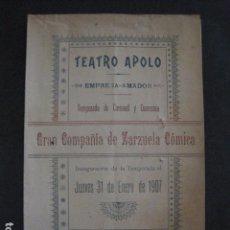 Música de colección: TEATRO APOLO - PROGRAMA AÑO 1907 - ZARZUELA COMICA -VER FOTOS(V- 11.615). Lote 89680208