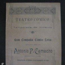 Música de colección: TEATRO COMICO - PROGRAMA AÑO 1906- ANTONIO P. CAMACHO -VER FOTOS(V- 11.617). Lote 89680516