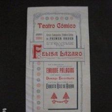 Música de colección: TEATRO COMICO - PROGRAMA AÑO 1908- FELISA LAZARO -VER FOTOS-(V- 11.618). Lote 89680688