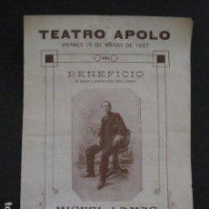 Música de colección: TEATRO APOLO - PROGRAMA -AÑO 1907 -MIGUEL LAMAS -VER FOTOS-(V- 11.621). Lote 89681320
