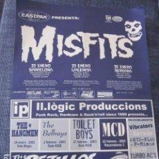 Música de colección: MISFITS - FLYER DE LA GIRA ESPAÑOLA DEL 2003.. Lote 96503915