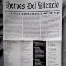 Música de colección: HEROES DEL SILENCIO - PERIÓDICO PROMOCIONAL LA AVENTURA EUROPEA DE HEROES DEL SILENCIO. 1993. Lote 97646635