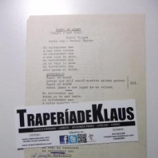 Música de colección: LETRA CAPRI SE ACABO + POR UN ROSA. TDKP12. Lote 98890147