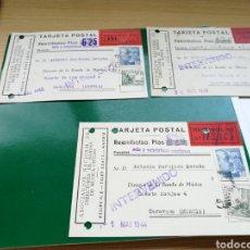Música de colección: LOTE DE 3 TARJETAS POSTALES. BANDAS DE MÚSICA. CENSURADAS A CARAVACA MURCIA. AÑOS 40. Lote 100239398