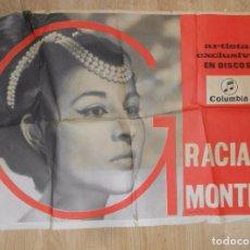 Música de colección: CARTEL DE GRAN FORMATO GRACIA MONTES. ARTISTA EXCLUSIVA DISCOS COLUMBIA. TDKPR2. Lote 102339883