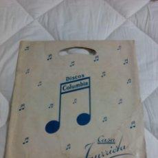 Música de colección: DISCOS COLUMBIA CASA IÑURRIETA SAN SEBASTIAN BOLSA DE DISCOS DE CARTON LP . Lote 103068279